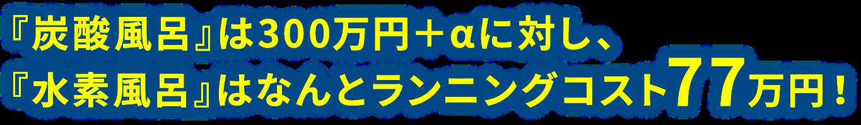『炭酸風呂』は300万円+αに対し、『水素風呂』はなんとランニングコスト77万円!